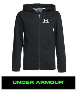 Under Armour Full Zip Hooded Sweatshirt Junior Kids Boys Black Hoodie Hoody NEW