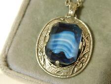 "Vintage Miracle Scottish Blue Agate Givre Glass Celtic Pendant 24"" Necklace 9b73"