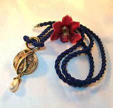 Luxueux Pierre Lang pendentif avec perle & Bleu Cordon Chaîne Collier/BO 672