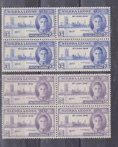 sierra leone 1946 Sc 186/7,SG 201/2,block of four,MNH ,set        r446