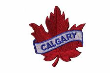 CALGARY RED MAPLE LEAF IRON-ON PATCH CREST BADGE . SIZE : 2.5 X 2.5 INCH