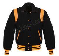 Varsity Bomber Baseball College Retro Black Wool & Gold Leather Strip jacket