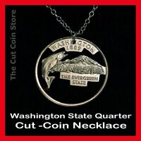 Coin Necklace Cut Out Washington Quarter 25¢ WA Evergreen State Mount Rainier