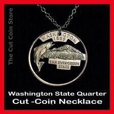 Washington Quarter Cut 25¢ WA Coin Necklace Evergreen State Mount Rainier