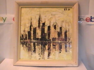 WOW MILTON KEITH LEE Original MODERN ABSTRACT CUBISM MidCentury City Reflections