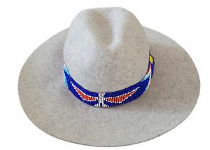 Western Seed Beaded Hat Band Stretch Fit Cowboy Hatband Eagle Dark Blue