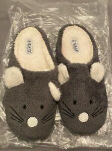 Eaze Women's Mouse Slipper Open Back Mule Large Size 7- 8 Grey Warm Soft Women