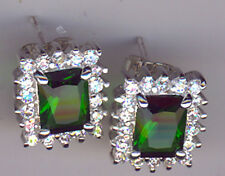 925 Sterling Silver Green & Clear Cubic Zirconia Oblong Stud Earrings Lgth 1/2""