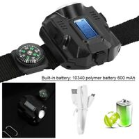 ABS Wrist Sport Watch Flashlight LED Wristlight USB Rechargeable with Compass ♡
