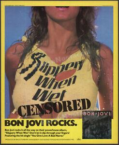 BON JOVI__Slippery When Wet__Original 1986 Trade Print AD / album promo / poster