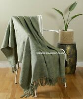 Green Solid 100% Cotton Fringed Lounge Sofa Bed Throw Rug Blanket 125 x 150 cm