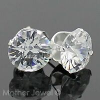 10mm REAL SOLID 925 STERLING SILVER Briolette Simulated Diamond Stud Earrings