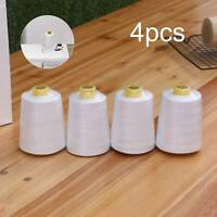 4Pcs 6000 Yards Quality Overlocking Sewing Machine Polyester Thread Cone, White