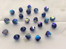 144 Swarovski #5301 4mm Crystal Dark Sapphire AB Faceted Bicone Beads