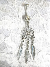 DAISY FLOWER DREAM CATCHER w 3 DANGLING FEATHERS 14g CLEAR CZ BELLY BUTTON RING