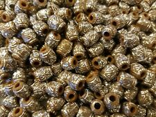 500 pcs Brown 9mm Oval Silver Tribal Patterned Plastic Craft Jewelry Beads