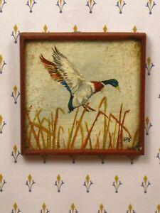 George Schlosser Oil Painting of Mallard Duck - Artisan Dollhouse Miniature