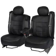 Black PU Leather Front Seat Covers Luxury for Built-in Armrest SUV Trucks