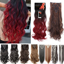 Extra THICK Clip In AS Remy Real Human Hair Extensions Full Head False Extension