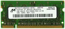 Micron - Ram per notebook, 1 GB, MT8HTF12864HDY-667E1 PC2-5300S-555-12-A0 ID1093