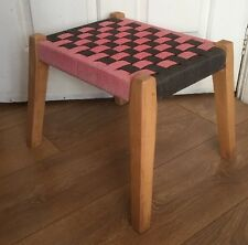 Vintage Retro 1950's Stylish Wooden Woven Stool Seat Retro Funky