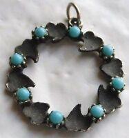 pendentif bijou vintage rond couleur vieil argent perle turquoise vintage * 4826