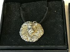 """Lion's Head TG23 English Pewter On 18"""" Black Cord Necklace"""