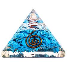 Turquoise Stone Orgone Pyramid Energy Generator Reiki Orgonite Healing Crystal