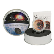 "2014 Cook Islands $5 ""Moldavite Impact"" Meteorite Proof Silver Coin"