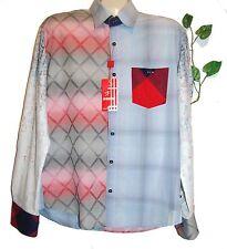 Mondo Blue White Plaid Designs Cotton Fancywork Men's Dress Shirt Size 2XL NEW