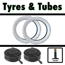 2x White Tyre 16 x 1.95 (52-305) Girls Childs Bike Bicycle & SCH Tubes