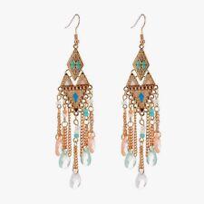 "Bohemian beaded multi-color gold plated womens 4"" hook dangle earrings"