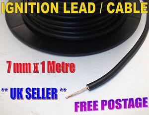 7mm HT Black PVC Ignition Lead Cable. Copper core. Car, Van, Motorbike..
