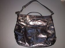 COACH 17165 PEWTER SILVER METALLIC LEATHER TOTE PURSE