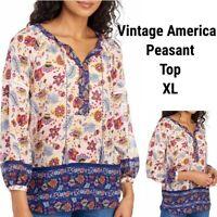 New Vintage America Women XL Ella Tunic Top Blouse Boho Floral Peasant Pink Blue