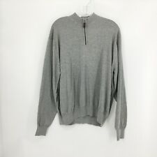 Tulliano Men's Gray Long Sleeve Silk Cotton Blend 1/4 Zip Pullover Sweater XL