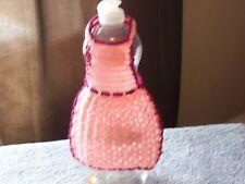 Dish Liquid Bottle apron hand crocheted pink/sparkly dark rose