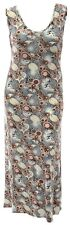 Woemns Sexy Maxi Cream Brown Paisley Print Long Sleeveless Dress New Ladies