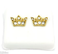 Mens 14k Gold Plated Cz Hip Hop Bullet Back Iced Out Earring Crown