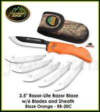 "OUTDOOR EDGE 3.5"" Razor-Lite Blaze Orange Replaceable Blade Knife, 6 Blds RB-20C"
