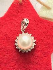 GENUINE WHITE PEARL & DIAMONDS PENDANT WHITE GOLD GIFT 14K JEWELLERY GIFT SET