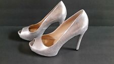Guess Silver Embossed Peep Toe  RosaliePumps Stiletto Shoes Size 7 New SEXY PROM