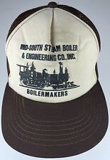 Vtg MID-SOUTH STEAM BOILER & ENGINEERING Boilermakers Mesh Trucker Hat Cap Brown
