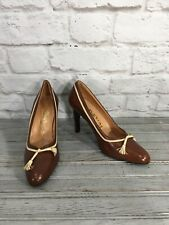 Vintage Mikelos Brown and Cream Leather Pump Heels Women's Size 7 Made in Spain