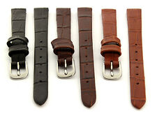 Open Ended Women's Genuine Leather Watch Strap Band 8 10 12 14 Croco ES MM