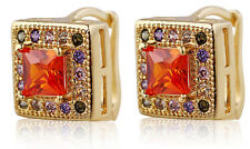 18 k Gold Plated Jewellery Small Girls Women Hoops Red & Colourful Earrings E709