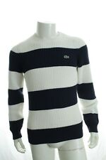 49bafd6d233b Lacoste Ah8992 Men s Jumper Crew Neck Striped and Ribbed Sweater