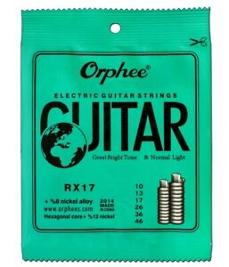 Electric Guitar Strings .10 Normal Light Orphee 8% Nickel Alloy  RX17 10's