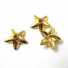 Gold on Sterling Silver Findings- Vermeil Bead Caps-Star Flower Bead Caps -5 pcs