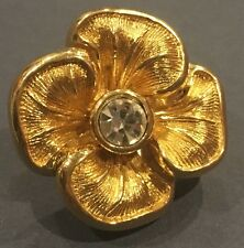Vintage CHRISTIAN DIOR - GERMANY Pansy Flower Brooch with Crystal Gold-Tone Pin